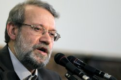 Iran's Parliamentary speaker Ali Larijani holds press conference in Tehran, Iran