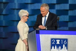Sen. Harry Reid and wife at the DNC convention in Philadelphia