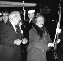 Margaret Thatcher arrives in Washington DC
