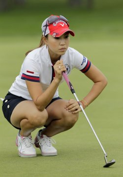 Momoko Ueda of Japan plays in the final round of the Wegmans LPGA Championship at Locust Hill Country Club in New York