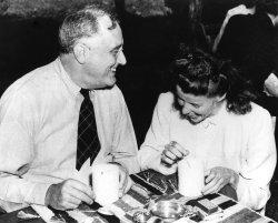 President Franklin Roosevelt and Katherine Hepburn having lunch together.