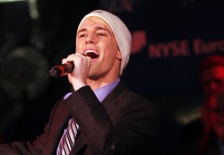 Aaron Carter of the Fantasticks Off-Broadway Show at the 88th Annual NYSE Christmas Tree Lighting on Wall Street in New York