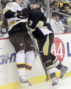 Pens Murry Checks Bruins Paille in Pittsburgh
