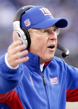 New York Giants head coach Tom Coughlin reacts after a play at MetLife Stadium in New Jersey