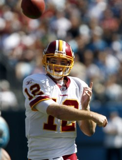 Washington Redskins John Beck passes against the Carolina Panthers
