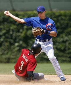 Chicago Cubs second baseman Jeff Baker tries for a double play against the Houston Astros