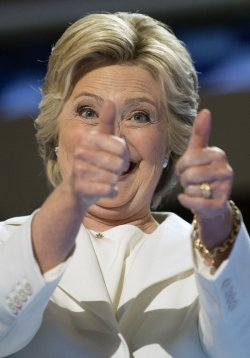 Hillary gestures at the DNC convention in Philadelphia