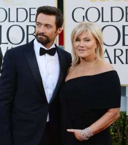 Actor Hugh Jackman and his wife Deborra-Lee Furness attend the 70th annual Golden Globe Awards in Beverly Hills, California