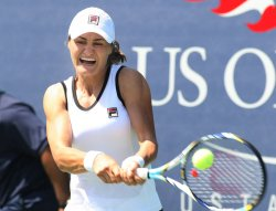 Ayumi Morita takes on Monica Niculescu in first-round action at the U.S. Open in New York