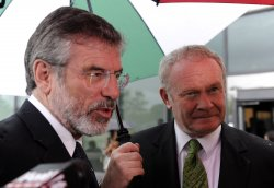 Gerry Adams and Martin McGuinness arrive at Senator Kennedy's memorial service in Boston