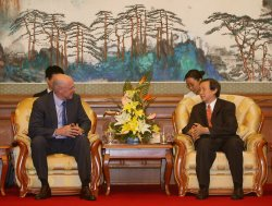 US TREASURY SECRETARY PAULSON TALKS WITH CHINESE OFFICIAL IN BEIJING