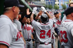 Atlanta Braves Michael Bourn scores in Washington