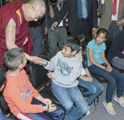 The Dalai Lama holds Heart-Mind Youth Dialogue with students at John Oliver Secondary School in Vancouver during several day visit