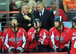 Capitals head coach Dale Hunter and Assistant Coach Jim Johnson in Washington