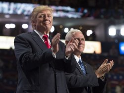 Donald Trump and Mike Pence on stage at the GOP convention in Cleveland