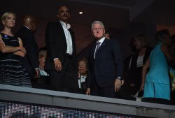Former President Bill Clinton in VIP area at the DNC in Philadelphia