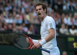 Andy Murray celebrates in his match with Fernando Verdasco