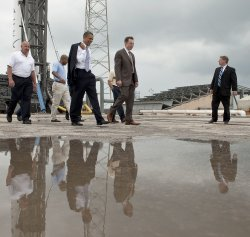 U.S. President Obama speaks on new plans for space exploration at Kennedy Space Center in Florida