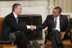 President Barack Obama meets with Norway Prime Minister Jens Stoltenberg