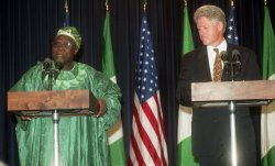 U.S. President Bill Clinton and Olusegun Obasanjo, President of Nigeria meet in Washington