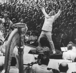 Bernstein at the conclusion of conducting Mahler's Resurrection Symphony