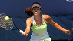 Tsvetana Pironkova takes on Ayumi Morita in second-round action at the U.S. Open in New York