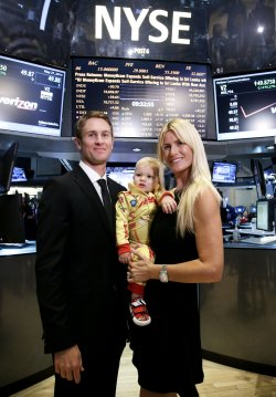 Indianapolis 500 winner Ryan Hunter-Reay rings the Opening Bell at the NYSE