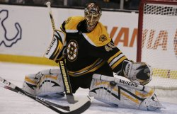 Bruins Rask in Game 5 of the NHL Eastern Conference Semi-Final in Boston, MA.