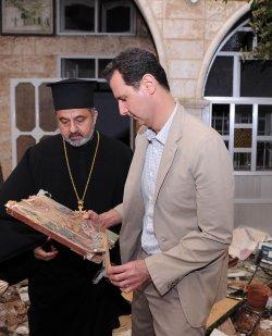 Syrian President Bashar Al-Assad VisitsTown Recaptured From Rebels
