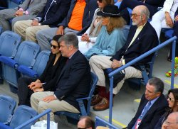 Alec Baldwin,Hilaria Thomas and Sean Connery attend the at the U.S. Open in New York