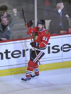 Blackhawks Campbell celebrates goal against Canucks in Chicago
