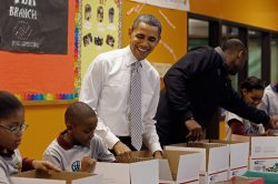 Obama and the LA Lakers visit the Boys And Girls Club in Washington