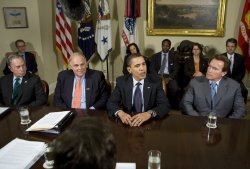 President Obama meets with Bloomberg, Rendell and Schwarzenegger in Washington
