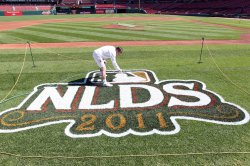 Busch Stadium prepares for Game Three of the National League Division Series