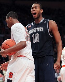 Georgetown Hoyas Greg Monroe reacts at the NCAA Big East Men's Basketball Championships in New York