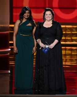 Mindy Kaling and Melissa McCarthy attend the 64th Primetime Emmy Awards in Los Angeles