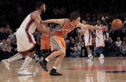 New York Knicks Jared Jeffries fouls Phoenix Suns Steve Nash at Madison Square Garden in New York
