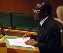 PRESIDENT ROBERT MUGABE OF ZIMBABWE SPEAKS AT THE UNITED NATIONS IN NEW YORK