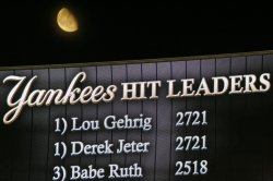 Derek Jeter ties Lou Gehrig for all time hits as the New York Yankees play the Tampa Bay Rays at Yankee Stadium in New York