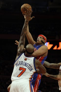New York Knicks Al Harrington plays defense on Detroit Pistons Charlie Villanueva at Madison Square Garden in New York