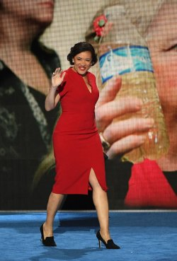 Flint Mayor Karen Weaver addresses delegates at the DNC convention in Philadelphia