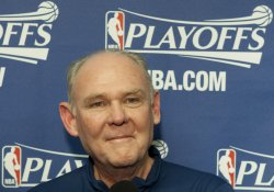 Nuggets Head Coach Karl Smiles at Pre-Game Press Conference at the NBA Western Conference Playoffs First Round Game Four in Denver