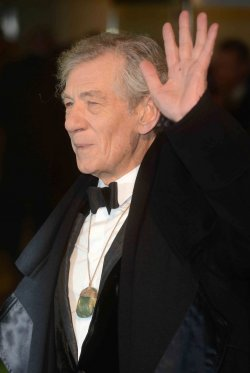 "Sir Ian McKellen attends The UK premiere of ""The Hobbit: An Unexpected Journey"" in London."