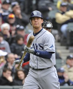 Rays Zobrist stikes out against White Sox in Chicago