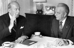 GEORGE SCHULTZ AND ROBERT BYRD MEETING IN BYRD'S OFFICE