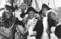 Comedian Bob Hope performs with other stars in Polynesia