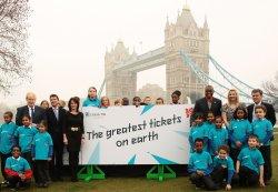 London Mayor Boris Johnson and Olympians launch 2012 Olympics tickets sale.
