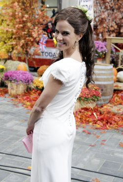 "Natalie Morales dresses as Pippa Middleton for NBC's ""Today"" 2011 Halloween Celebration at Rockefeller Center in New York"