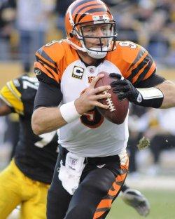 Cincinnati Bengals quarterback Carson Palmer Scrambles in Pittsburgh