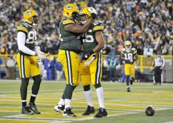 Packers Jennings, Newhouse and Grant celebrate touchdown in Green Bay, Wisconsin